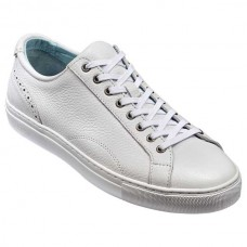 Barker Axel Sneakers Mens White Grain Leather Shoes
