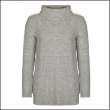 Barbour Jumper Malvern Roll Collar Ladies Light Grey Mark Knit