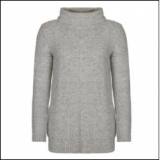Barbour Jumper Malvern Roll Collar Ladies Light Grey Mark Knit