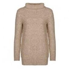 Barbour Jumper Malvern Roll Collar Ladies Oatmeal Knit
