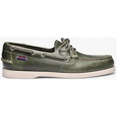 Sebago Docksides Portland Waxed 909 Green Military Leather Mens Boat Shoes