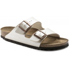 Birkenstock Arizona Graceful Pearl White Birko Flor Ladies Sandals Narrow