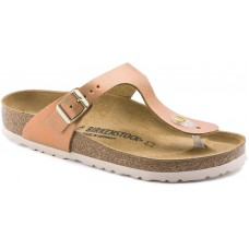 Birkenstock Gizeh Washed Metallic Sea Copper Leather Ladies Sandals Regular
