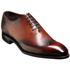 Barker Tennyson Oxford Longwing Brogue Style Brown Calf/Print Mens Leather Shoes (09)