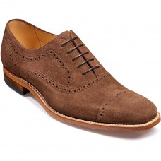 Barker Luke Semi Brogue Oxford Canstagnia Brown Suede Leather Mens Shoes (07)