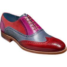 Barker Valiant Oxford Brogue Wingtip Style Red/Grey/Purple Hand Painted Mens Shoes