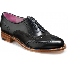Barker Sloane Oxford Wingtip Brogue Style Black Calf Suede Ladies Shoes