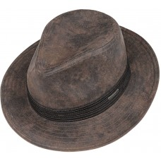 Stetson Jacky Traveller Brown Leather Fedora Style Mens Hat