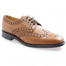 Loake Derby Brogue Style 641T Tan Brown Mens Leather Shoes