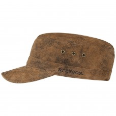Stetson Raymore Mens Pigskin Army Cap Brown