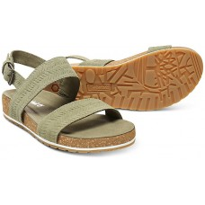 Timberland Malibu Waves 2 Band Olive Embossed Suede Leather Ladies Sandals