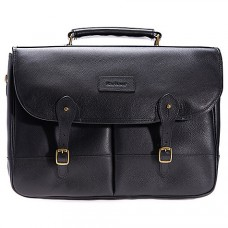 Barbour Bag Leather Briefcase Black