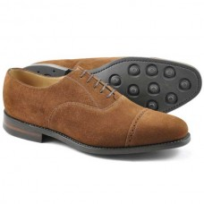 Loake Oxford Style Toe Cap Cadogan Brown Suede Rubber Sole Mens Shoes (07½)