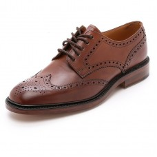 Loake Derby Style Brogue Chester Mahogany Leather Sole Mens Shoes (09½)
