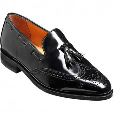 Barker Clive Loafer Wing Cap Style Black Hi-Shine Calf Mens Shoes