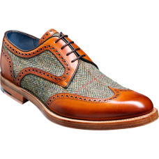 Barker Dowd Cedar Calf/Green Harris Tweed Derby Wingtip Shoes