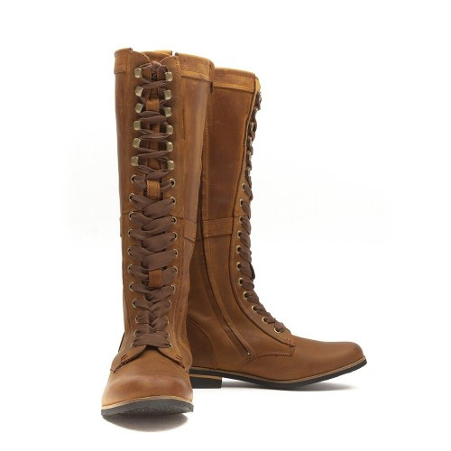 empire womens mid brown leather knee high boots