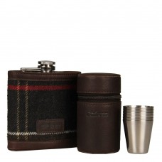 Barbour Hip Flask & Cups Set Tartan