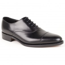 Loake Oxford Style Holborn Black Toe Cap Calf Leather Mens Shoes (08)