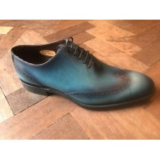 Barker Tennyson Oxford Style Mens Blue Calf/Print Leather Shoes (09½)