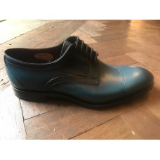 Barker Byron Derby Style Mens Blue/Print Leather Shoes (09½)
