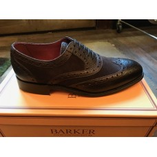 Barker Chocolate Fonston Oxford Brogue Wing Tip Mens Leather Shoes (07)