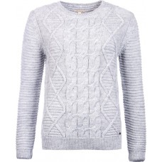 Barbour Top Court Crew Neck Light Grey Marl Ladies Jumper