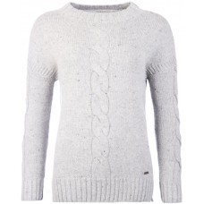Barbour Top Priory Funnel Neck Ladies Sweater Light Grey Marl