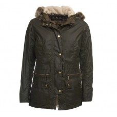 Barbour Jacket Kelsall Wax Ladies Olive Hooded Parka
