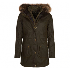 Barbour Jacket Dartford Ladies Wax Olive Hooded Coat