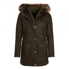Barbour Jacket Dartford Ladies Wax Olive Hooded Coat