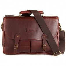 Barbour Bag Leather Briefcase Dark Brown