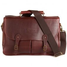 Barbour Bag Leather Briefcase Dark Brown