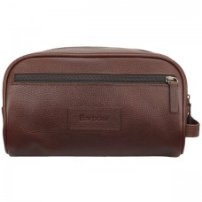 Barbour Bag Leather Washbag Dark Brown