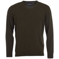 Barbour Jumper Essential V Neck Lambswool Mens Seaweed Green