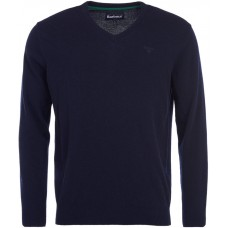 Barbour Jumper Essential V Neck Lambswool Mens Navy
