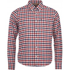 Barbour Shirt Moss Mens Red Navy Check Shirt