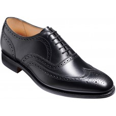 Barker Malton Oxford Full Wing Brogue Black Calf Leather Mens Shoes (Size 7 F Standard Fitting)