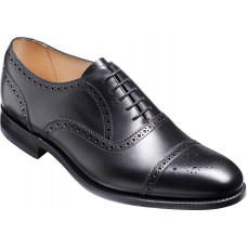 Barker Mirfield Oxford Semi Brogue Black Calf Leather Mens Shoes (G Wide Fit)