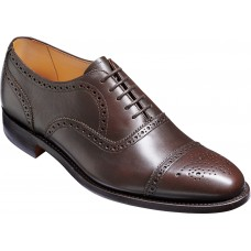 Barker Mirfield Oxford Semi Brogue Espresso Calf Leather Mens Shoes (Size 07 G Wide Fit)