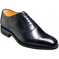 Barker Newcastle Oxford Brogue Style Black Mens Leather Shoes