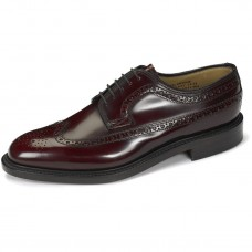 Loake Derby Style Brogue Royal Oxblood Hi-Shine Leather Sole Mens Shoes