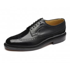 Loake Derby Style Brogue Royal Black Hi-Shine Leather Sole Mens Shoes