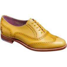 Barker Santina Oxford Brogue Style Yellow Glitter Handpainted Leather Womens Shoes