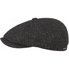 Stetson Hatteras Black Shetland Wool Mens Flat Cap Hat