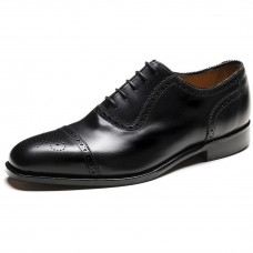 Loake Semi Brogue Style Strand Black Leather Shoes (11)