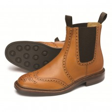 Loake Chelsea Boot Style Thirsk Tan Leather Brogue Mens Shoes