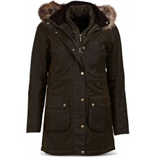 Barbour Thrunton Olive Ladies Parka Style Waxed Jacket