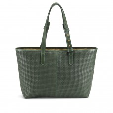 Tusting Branwell Olive Green Weave Leather Tote