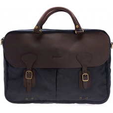 Barbour Bag Wax Leather Briefcase Navy